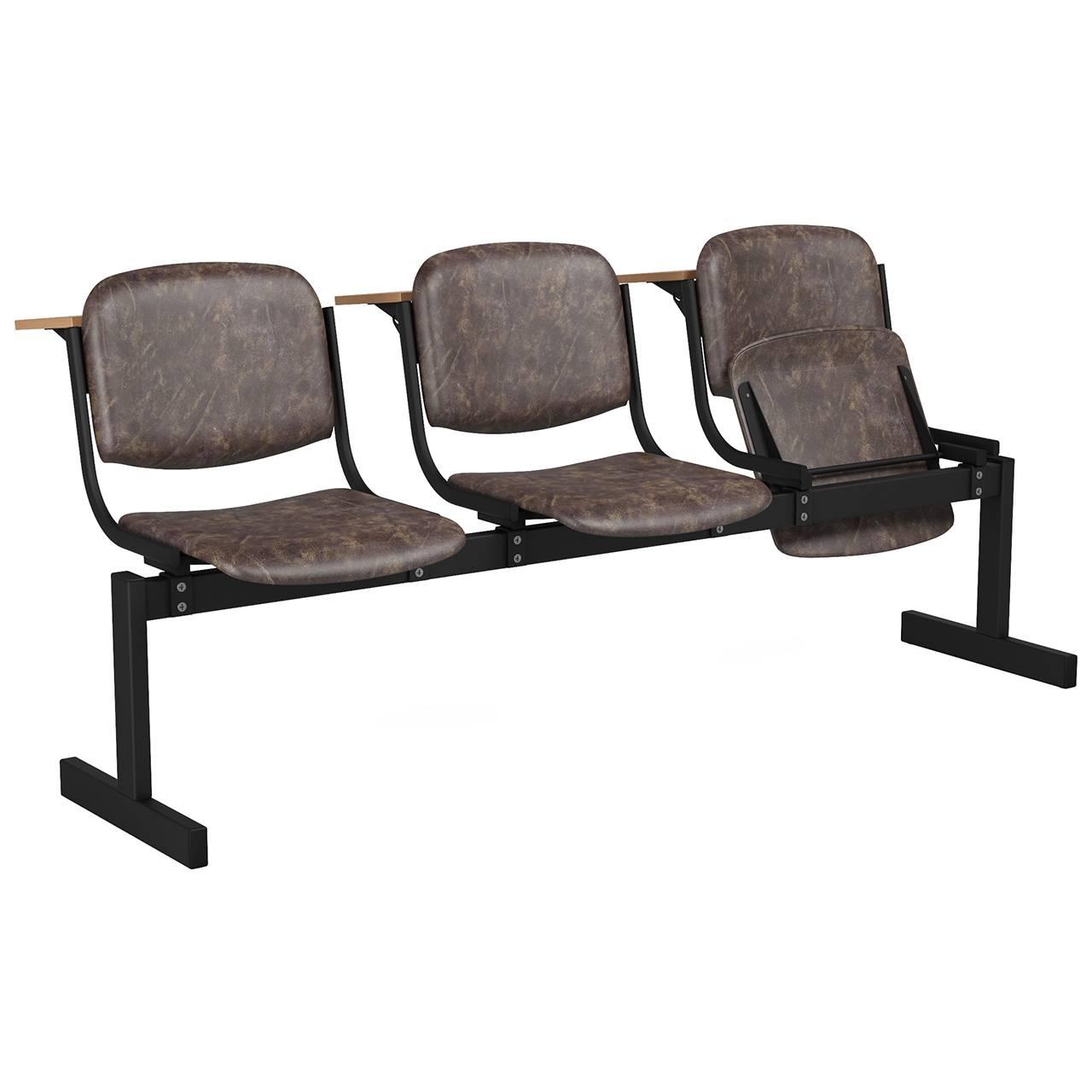 3-местный, откидывающиеся сиденья, мягкий, лекционный черный коричневый Кожзаменитель