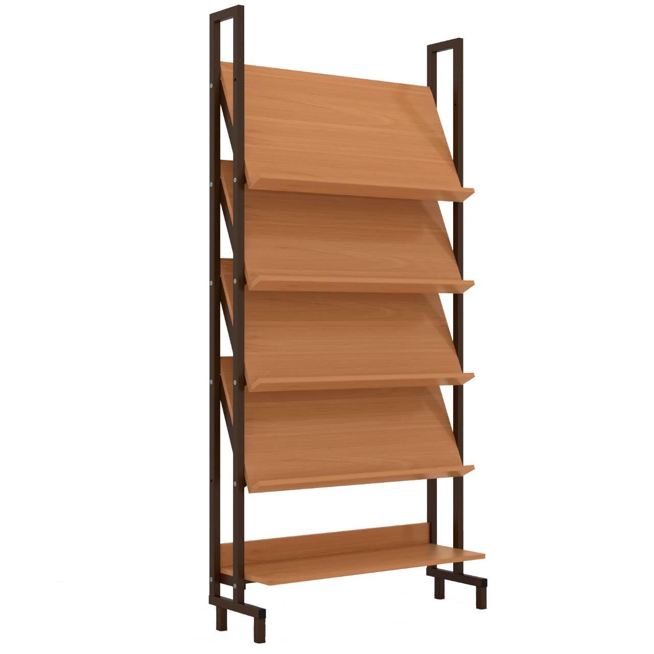 Стеллаж библиотечный демонстрационный коричневый Ольха Меламин