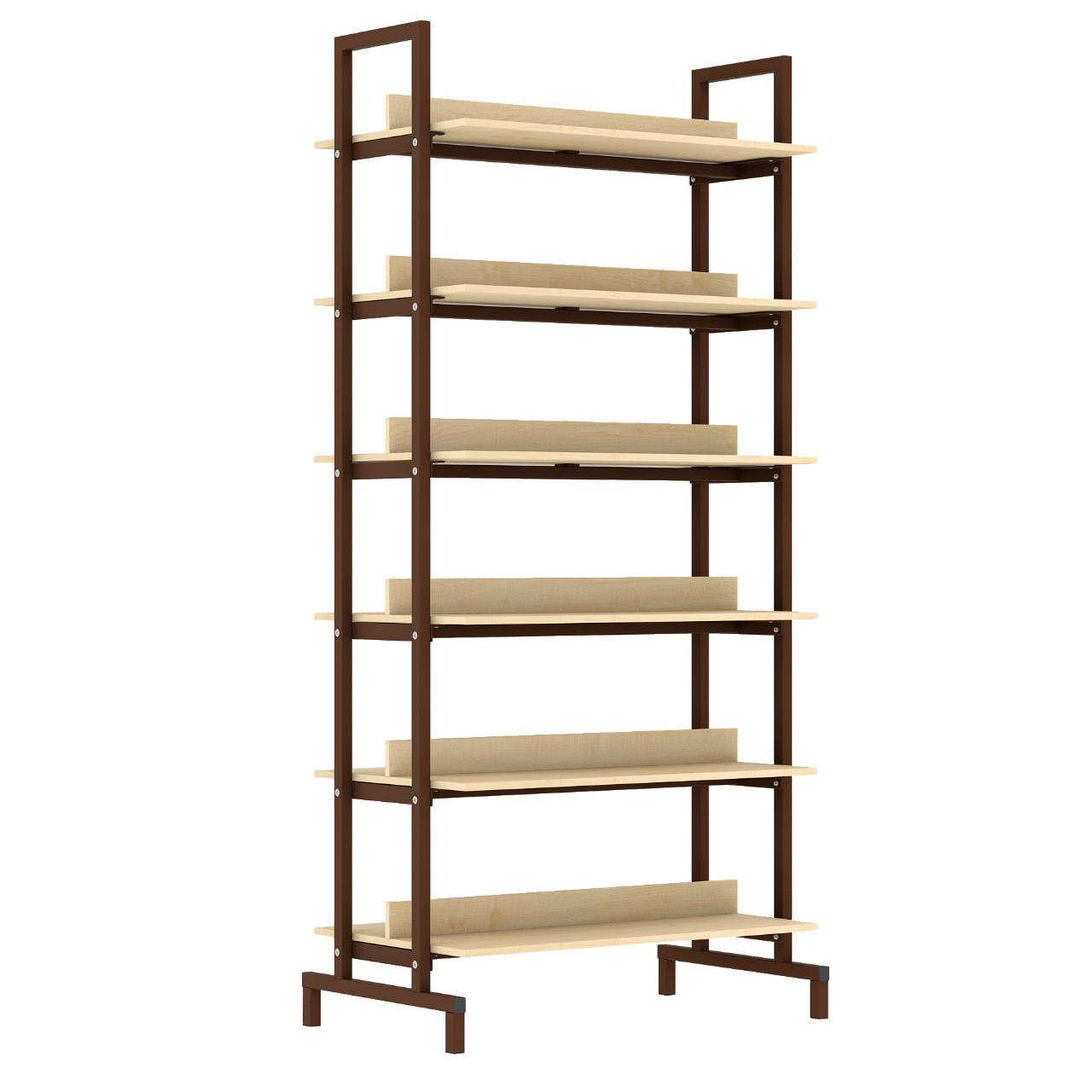 Стеллаж библиотечный 2-сторонний коричневый Клен Меламин