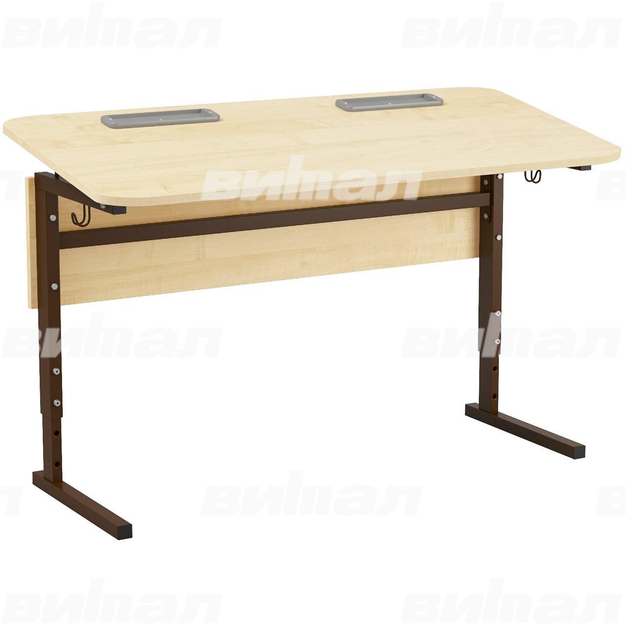 Стол 2-местный регулир. высота и наклон столешницы 0-10° (гр 2-4, 3-5, 4-6 или 5-7) коричневый Клен 5-7 Меламин прямоугольная