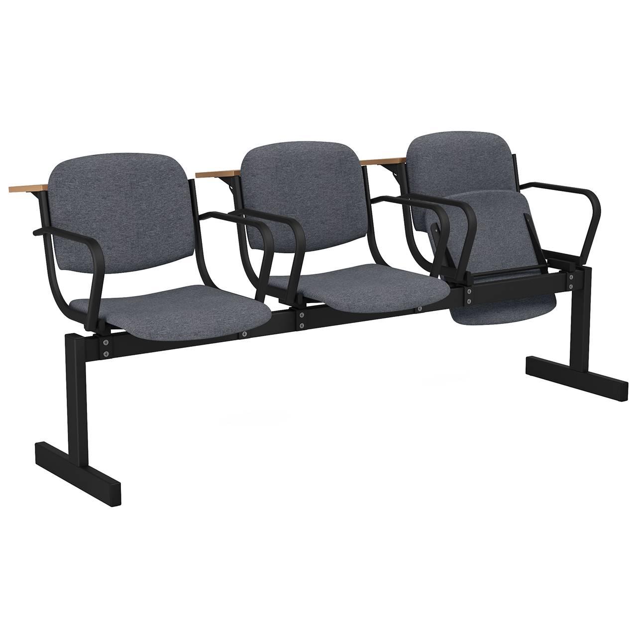 3-местный, откидывающиеся сиденья, мягкий, подлокотники, лекционный черный серый Офисная ткань