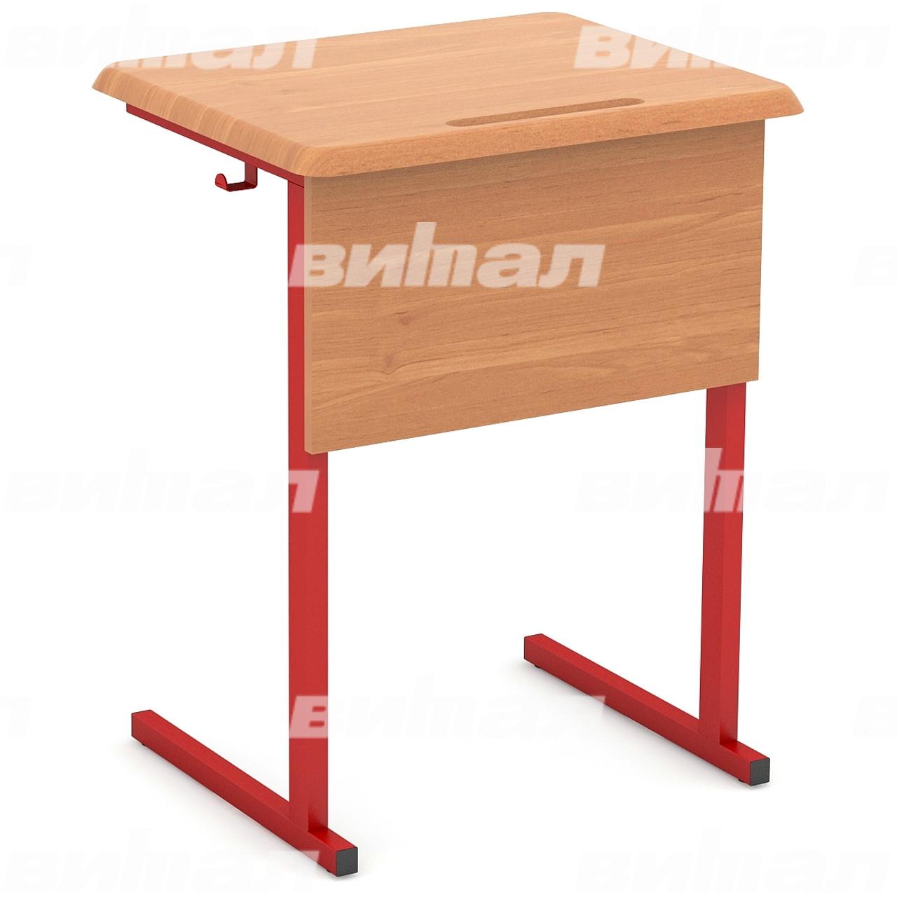 Стол ученический 1-местный нерегулируемый (гр. 3, 4, 5, 6) МДФ красный Бук 4 МДФ прямоугольная