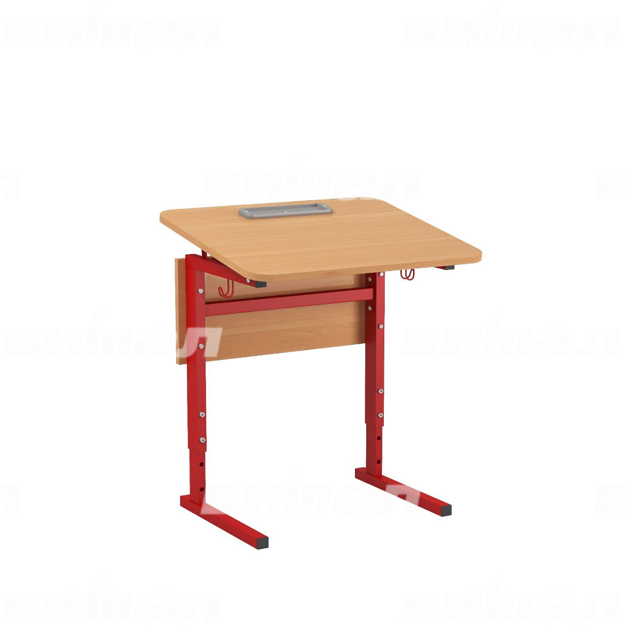 Стол 1-местный регулир. высота и наклон столешницы 0-10° (гр 2-4, 3-5 или 4-6) красный Ольха 3-5 Меламин прямоугольная