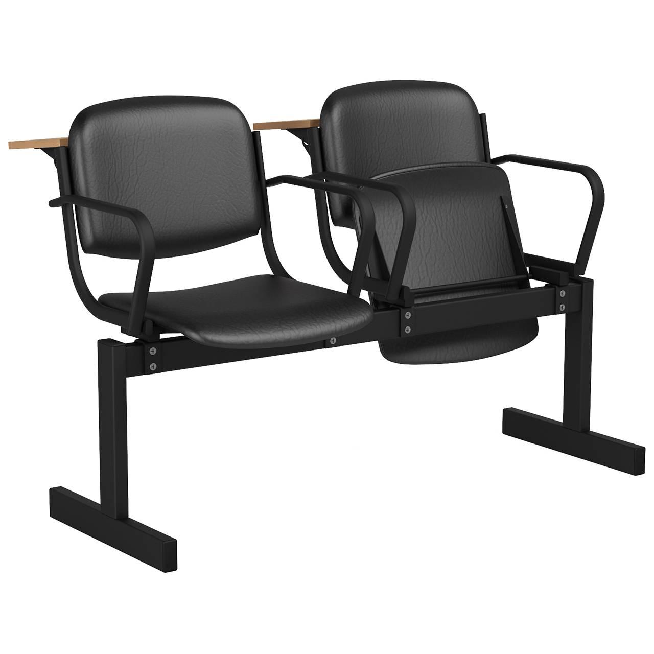 2-местный, откидывающиеся сиденья, мягкий, подлокотники, лекционный черный черный Кожзаменитель