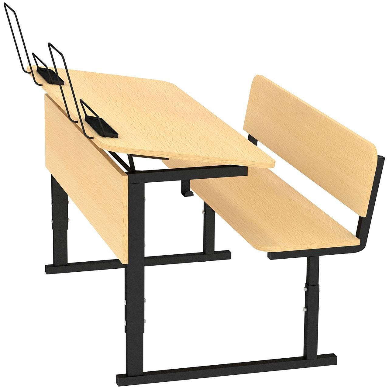 Парта ученическая 2-местная регулируемая по высоте и наклону столешницы 0-10° 2-4, 3-5 или 4-6 гр. черный Клен 3-5 Меламин