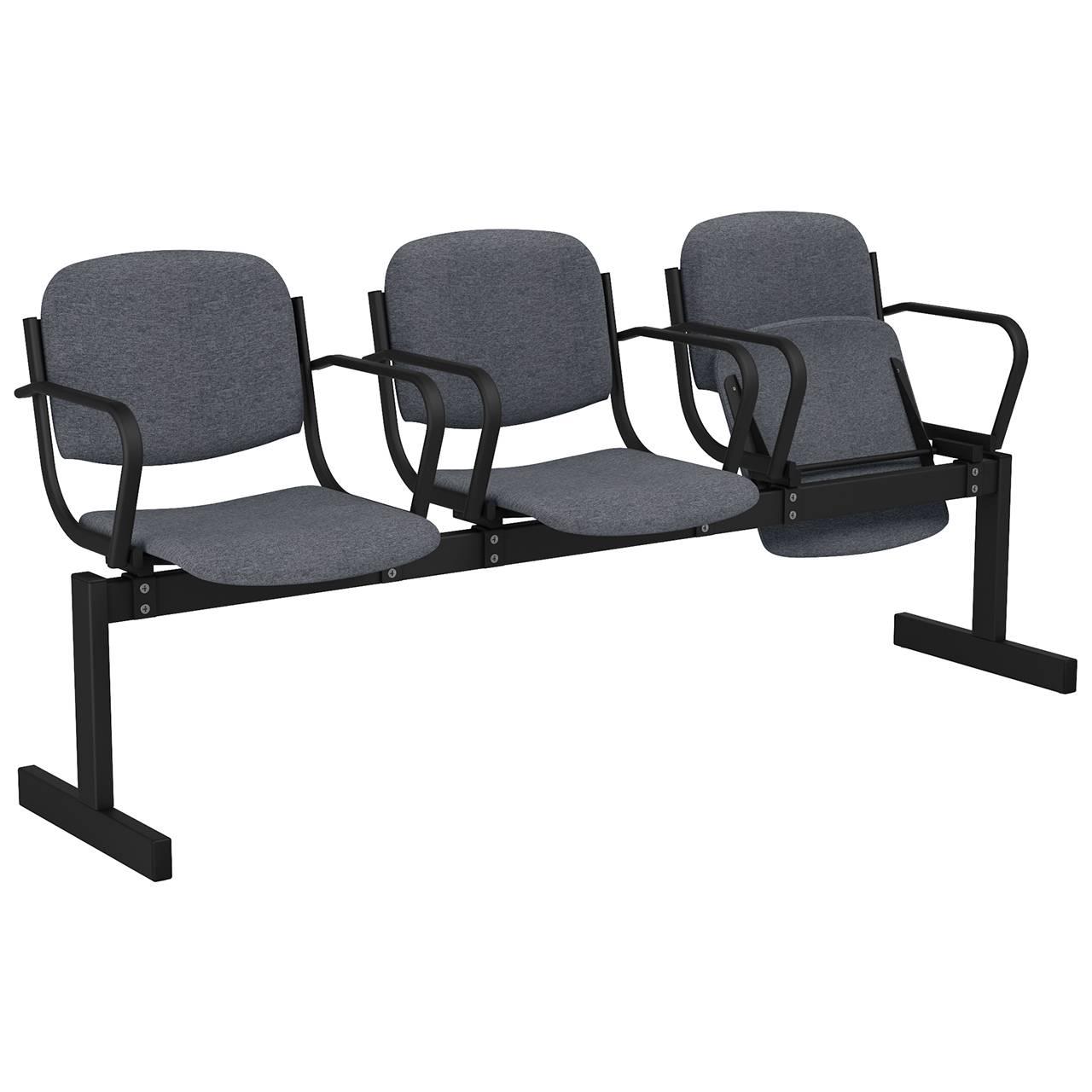 3-местный, откидывающиеся сиденья, мягкий, подлокотники черный серый Офисная ткань