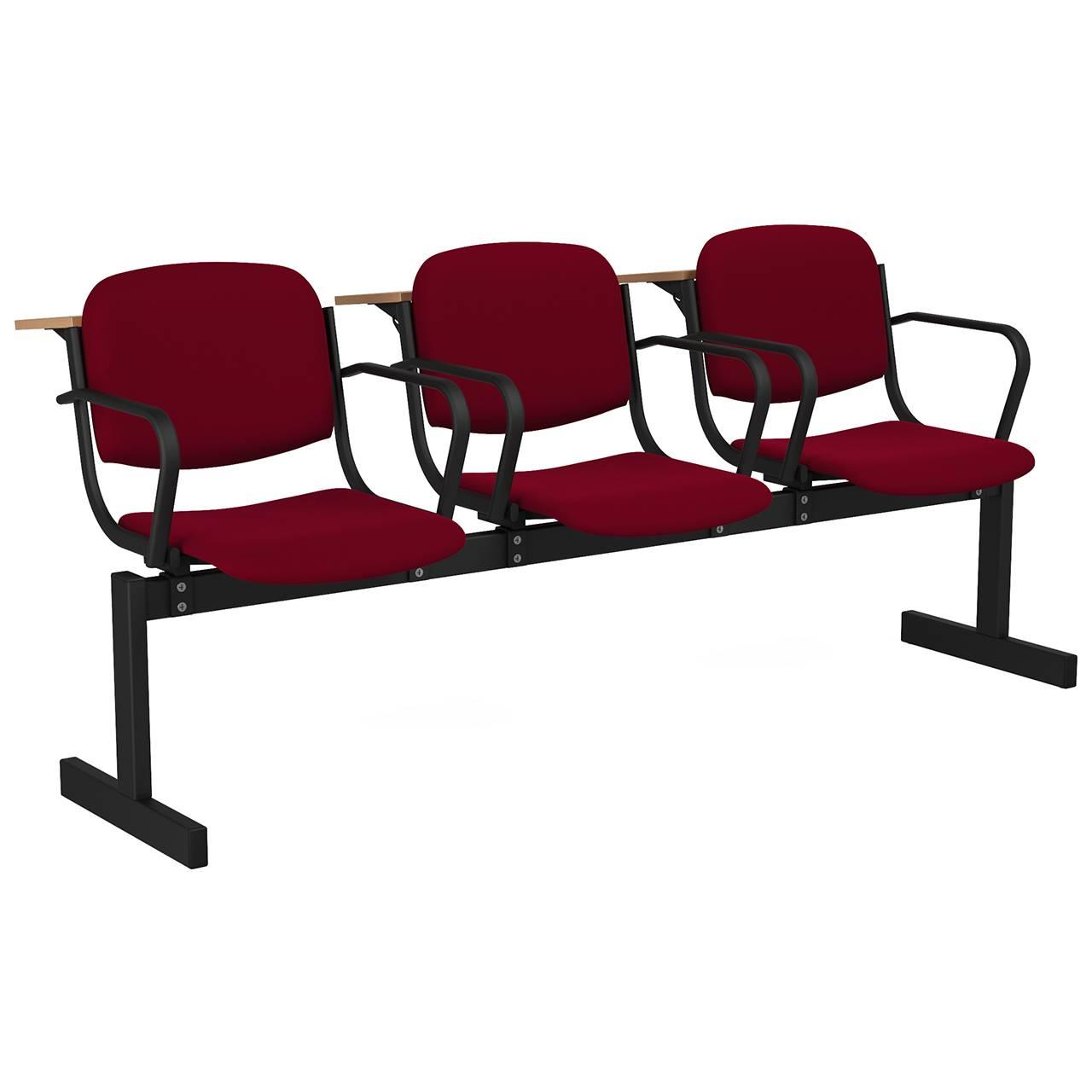 3-местный, не откидывающиеся сиденья, мягкий, подлокотники, лекционный черный бордо Флок