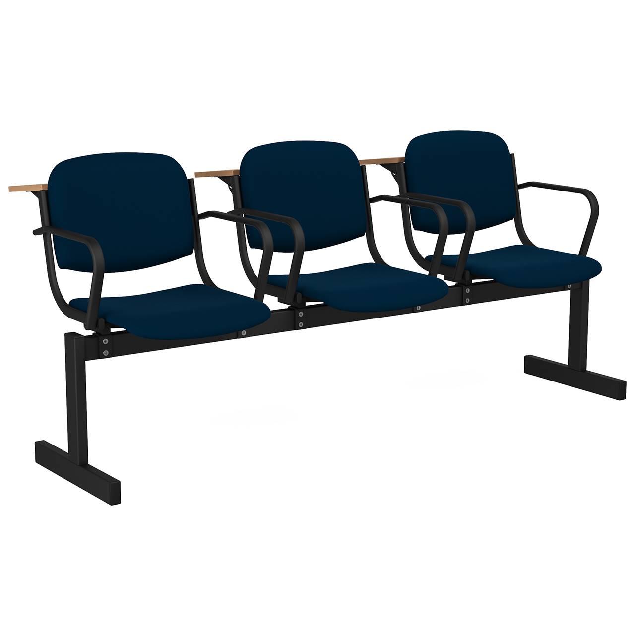 3-местный, не откидывающиеся сиденья, мягкий, подлокотники, лекционный черный синий Флок