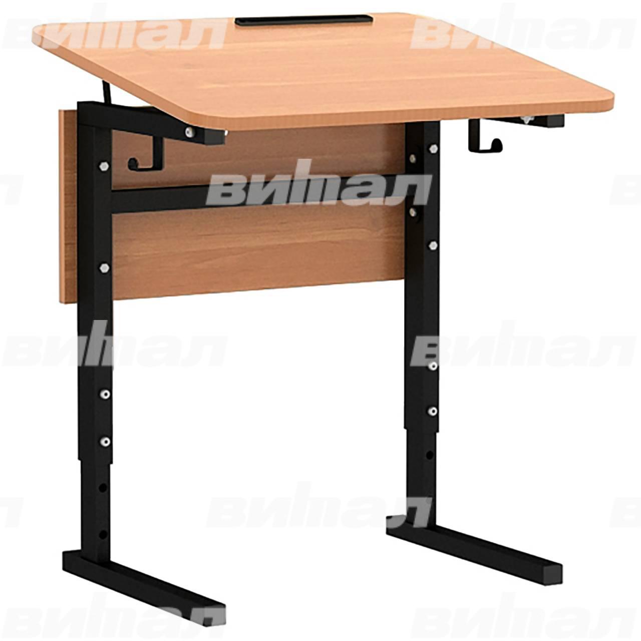 Стол 1-местный регулир. высота и наклон столешницы 0-10° (гр 2-4, 3-5 или 4-6) черный Ольха 3-5 Меламин