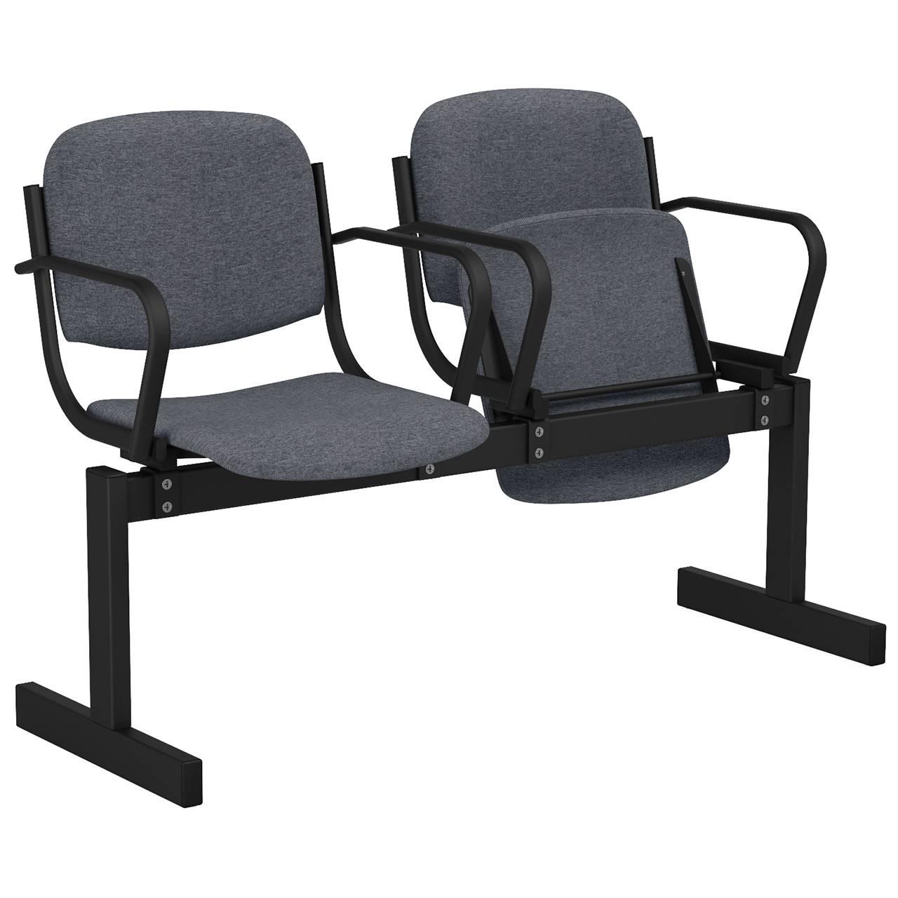 2-местный, откидывающиеся сиденья, мягкий, подлокотники черный серый Офисная ткань