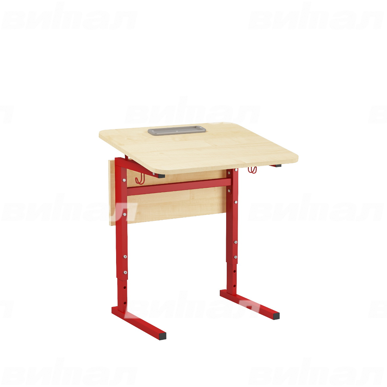 Стол 1-местный регулир. высота и наклон столешницы 0-10° (гр 2-4, 3-5 или 4-6) красный Клен 4-6 Меламин прямоугольная