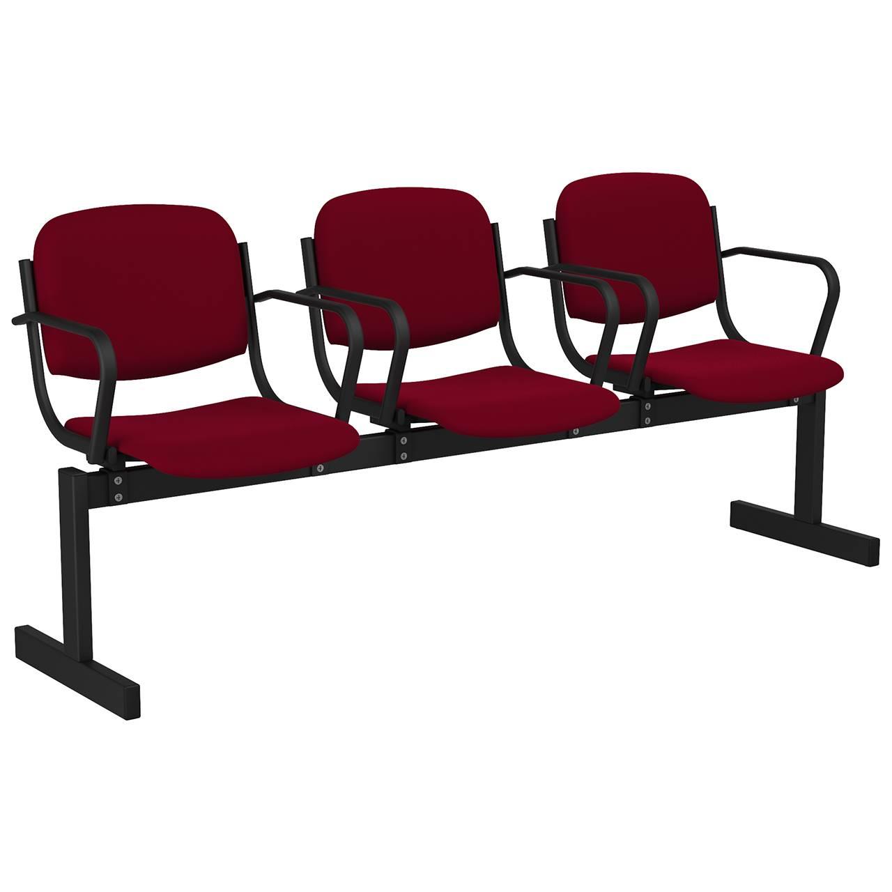 3-местный, не откидывающиеся сиденья, мягкий, подлокотники черный бордо Флок