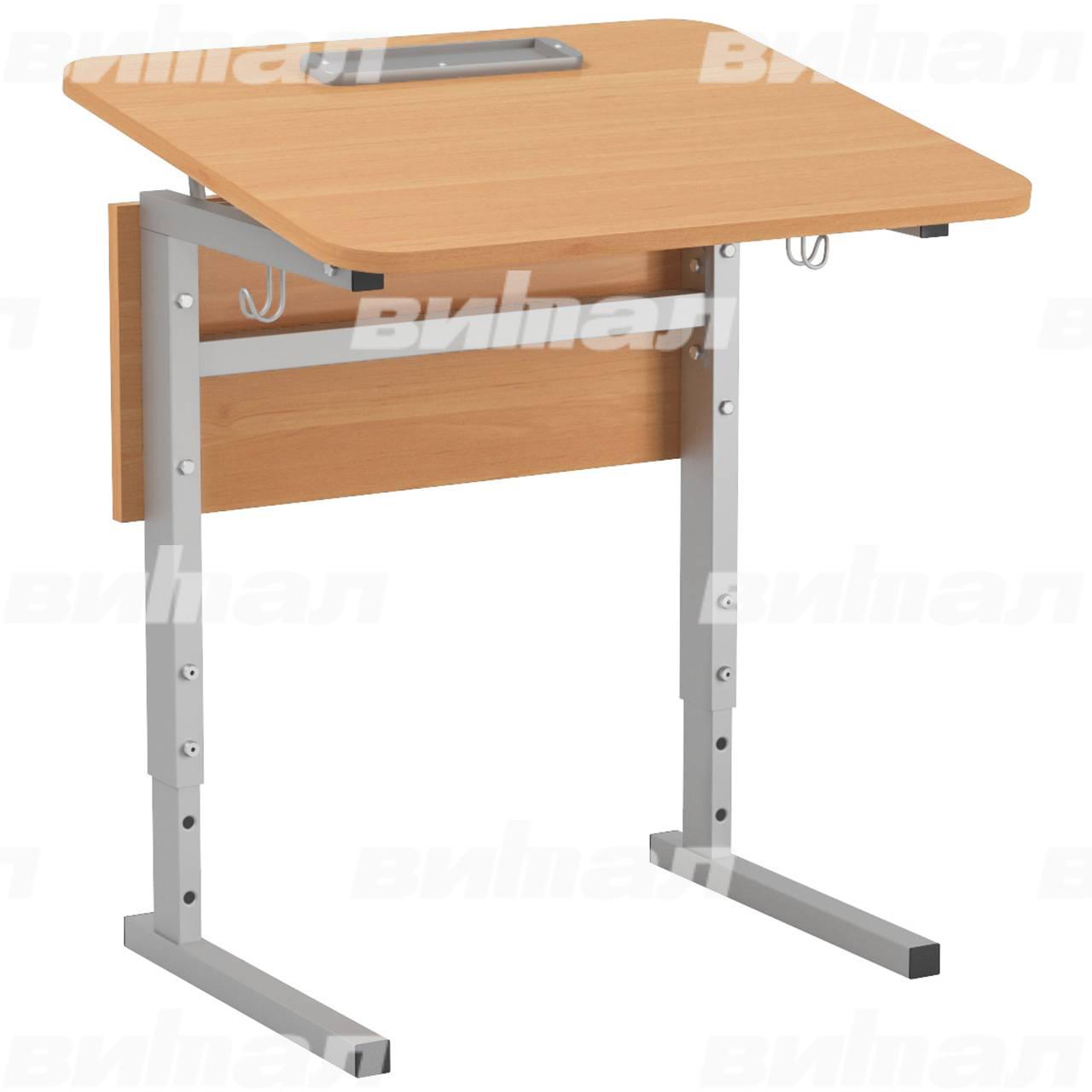 Стол 1-местный регулир. высота и наклон столешницы 0-10° (гр 2-4, 3-5 или 4-6) серый Ольха 5-7 Меламин прямоугольная