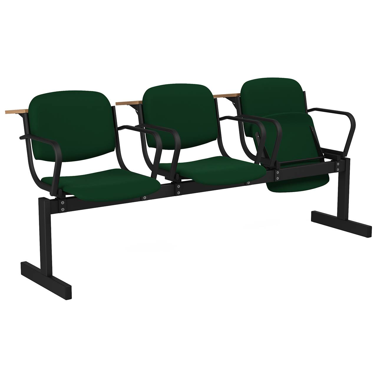 3-местный, откидывающиеся сиденья, мягкий, подлокотники, лекционный черный зеленый Флок