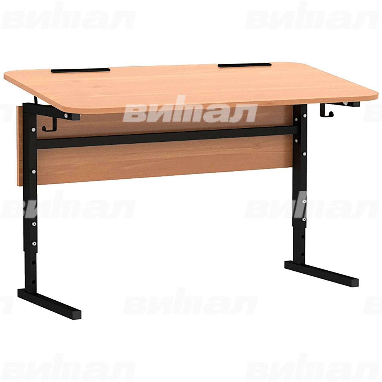 Стол 2-местный регулир. высота и наклон столешницы 0-10° (гр 2-4, 3-5 или 4-6) черный Ольха 3-5 Меламин