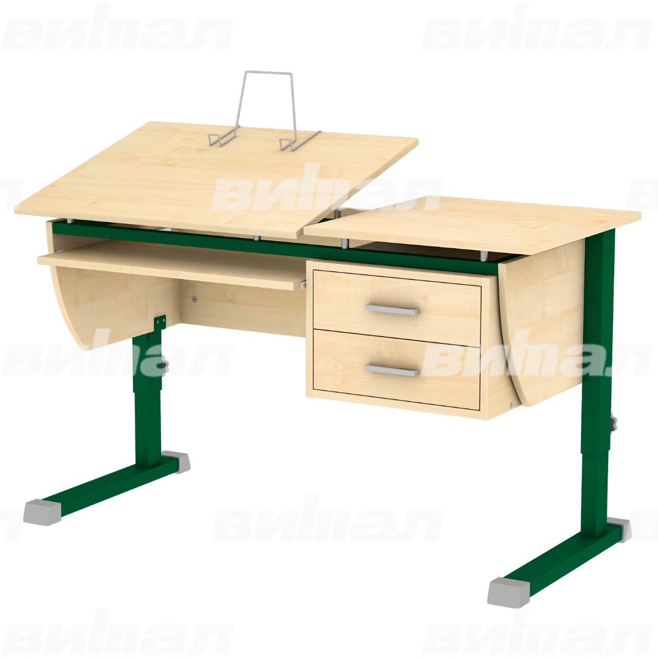 Стол ученический компьютерный «Осанка 120 К» зеленый Клен 2-7 ЛДСП