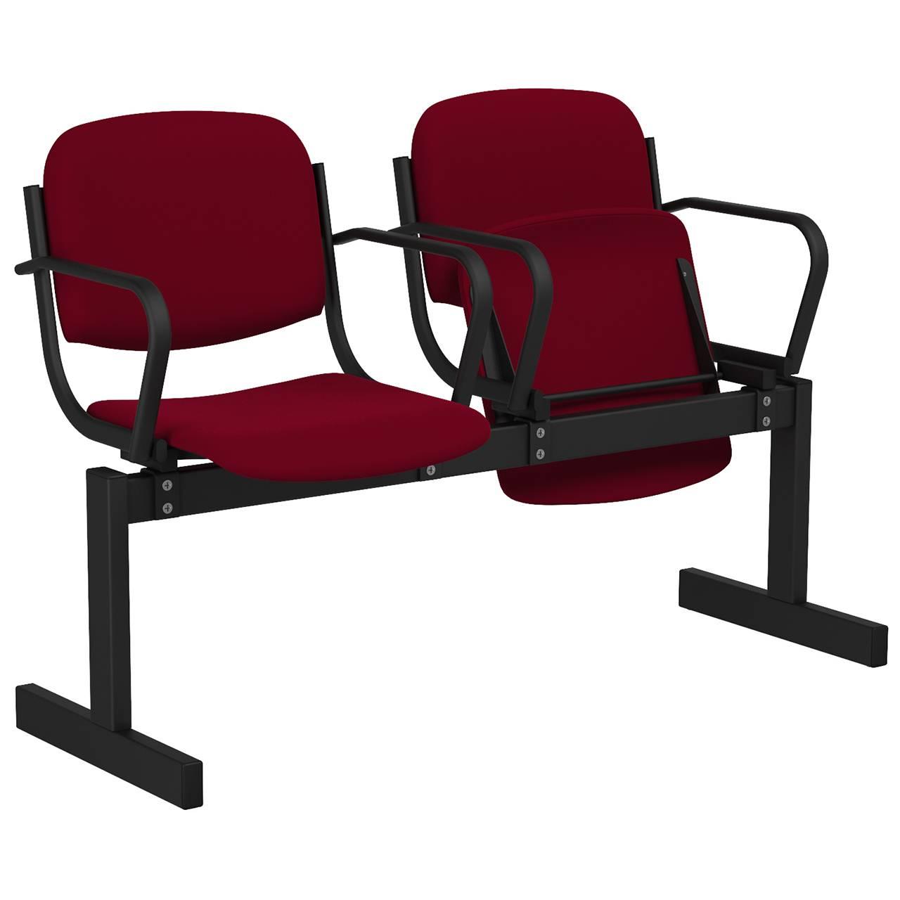 2-местный, откидывающиеся сиденья, мягкий, подлокотники черный бордо Флок
