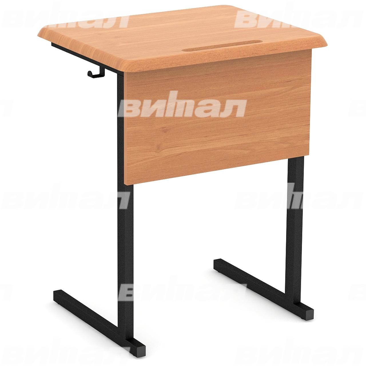 Стол ученический 1-местный нерегулируемый (гр. 3, 4, 5, 6) МДФ черный Бук 4 МДФ прямоугольная