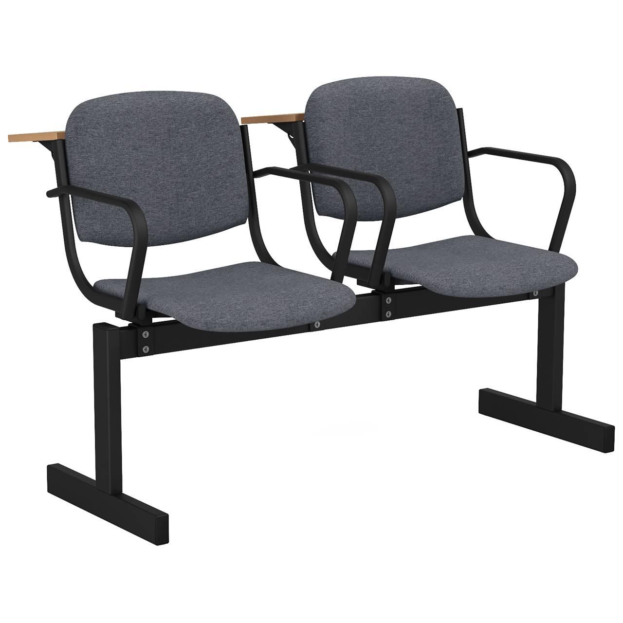 2-местный, не откидывающиеся сиденья, мягкий, подлокотники, лекционный черный серый Офисная ткань