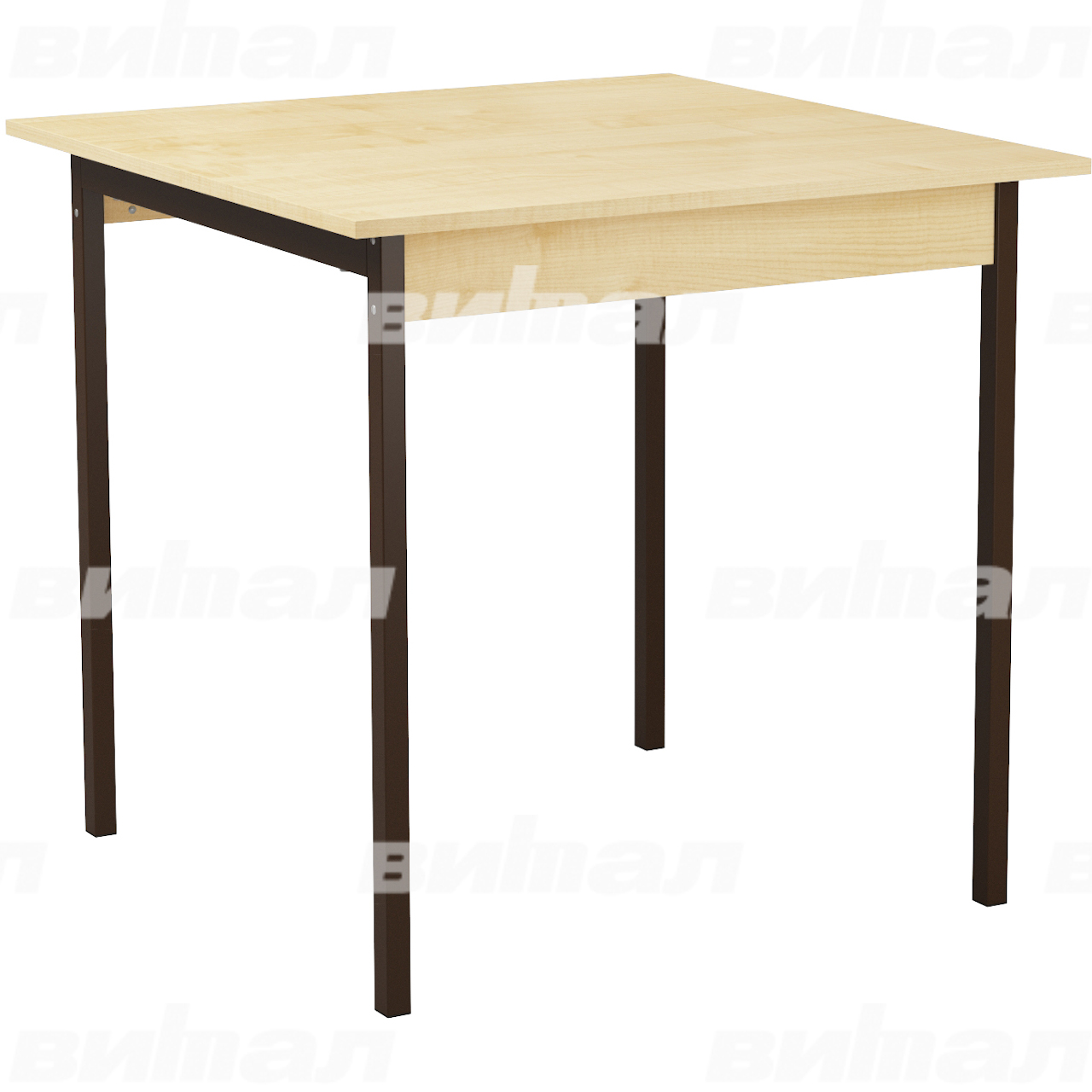 Стол для столовой для 4 табуретов коричневый Клен Пластик
