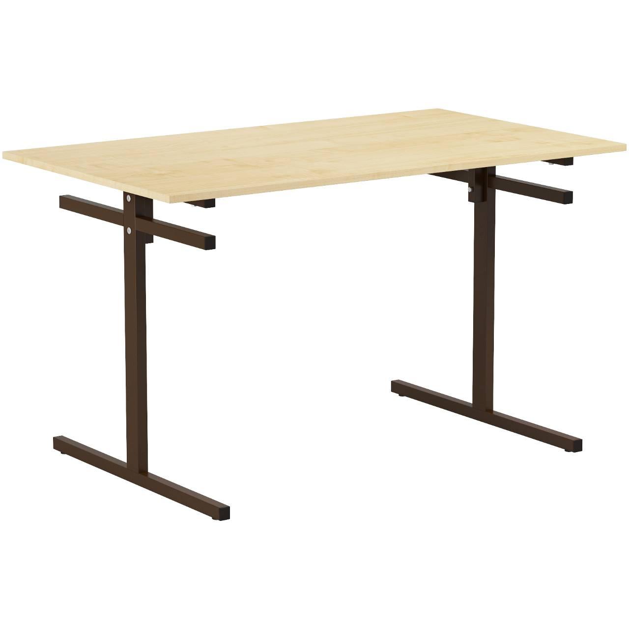 Стол для столовой 4-местный для скамеек (гр. 5,6) коричневый Клен 6 Пластик