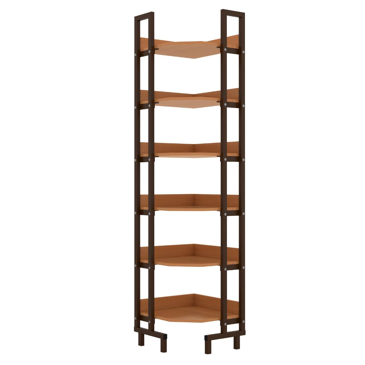 Стеллаж библиотечный угловой коричневый Ольха Меламин