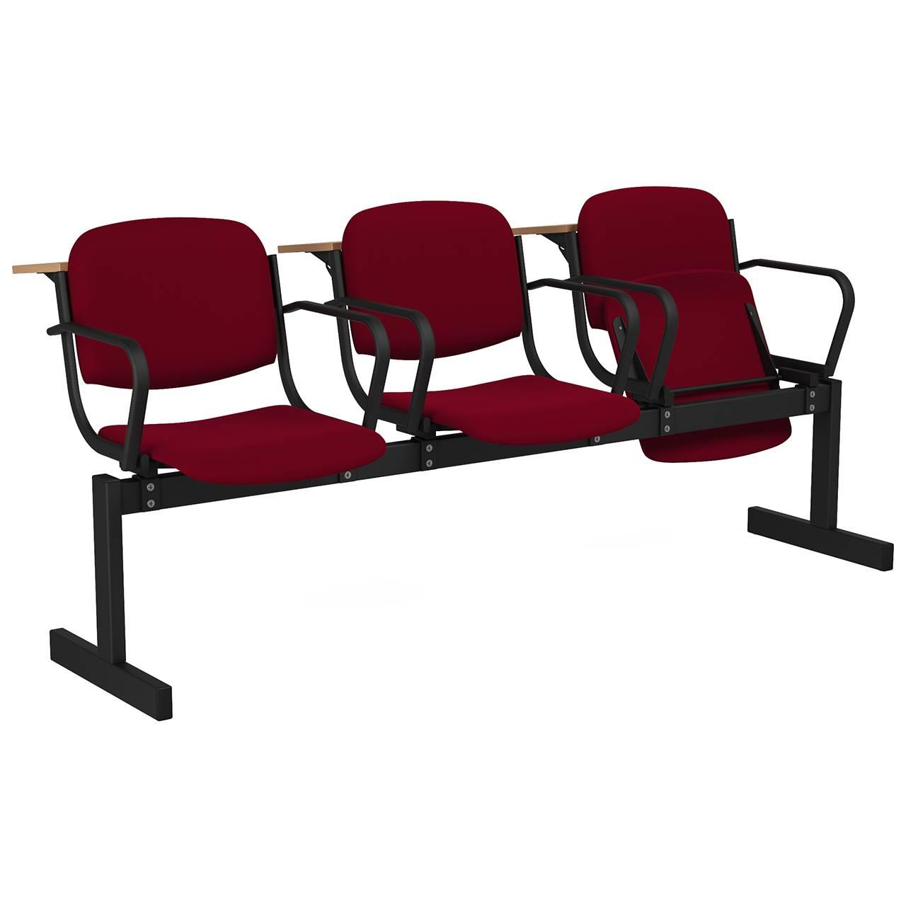 3-местный, откидывающиеся сиденья, мягкий, подлокотники, лекционный черный бордо Флок
