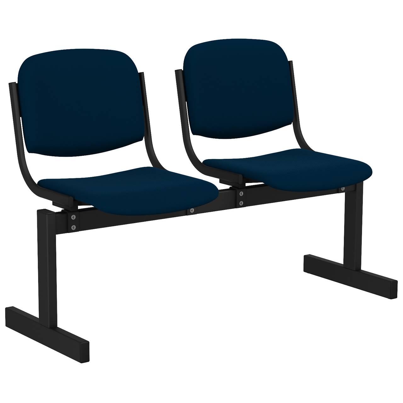 2-местный, не откидывающиеся сиденья, мягкий черный синий Флок