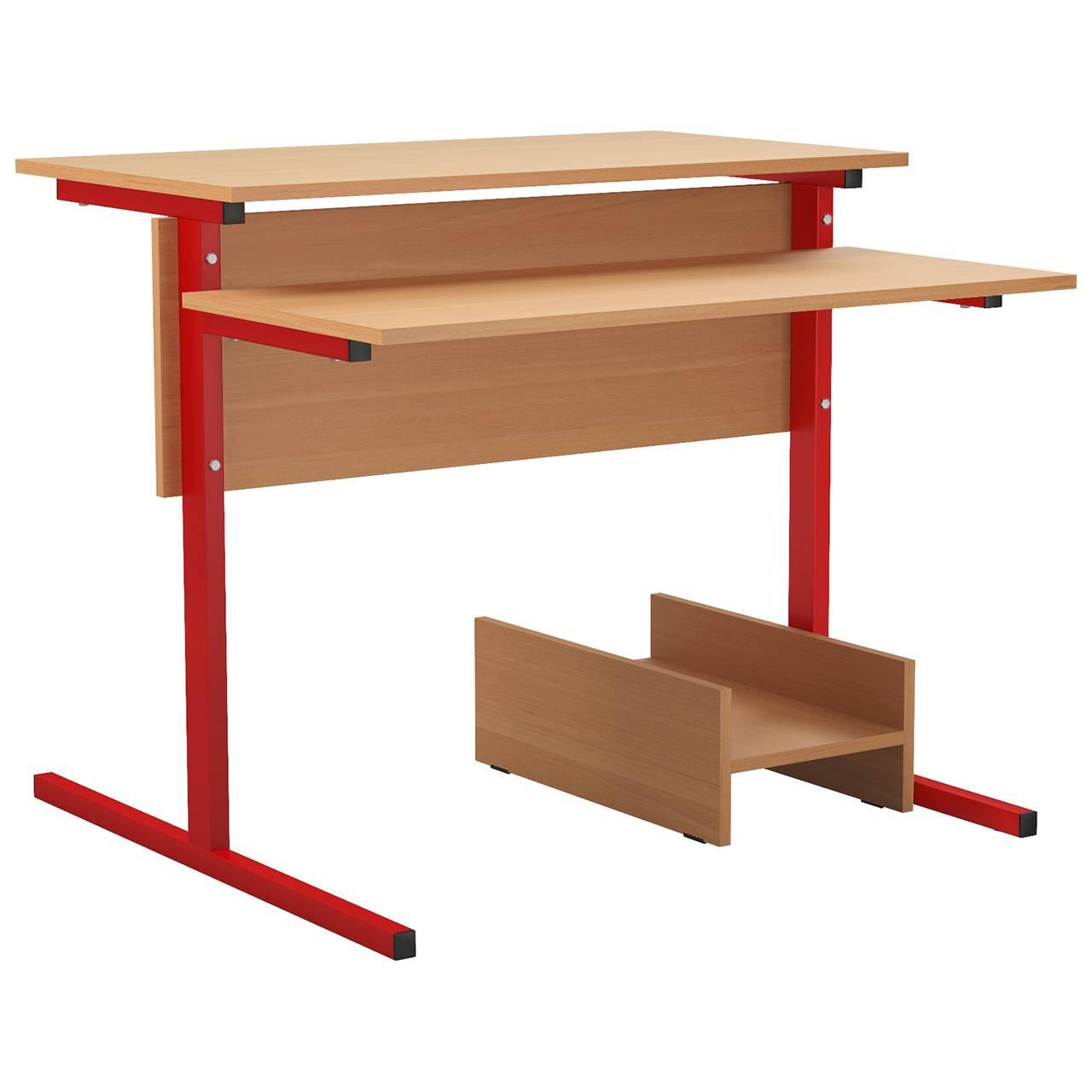 Стол компьютерный на м/к (квадратная труба) красный Ольха Меламин