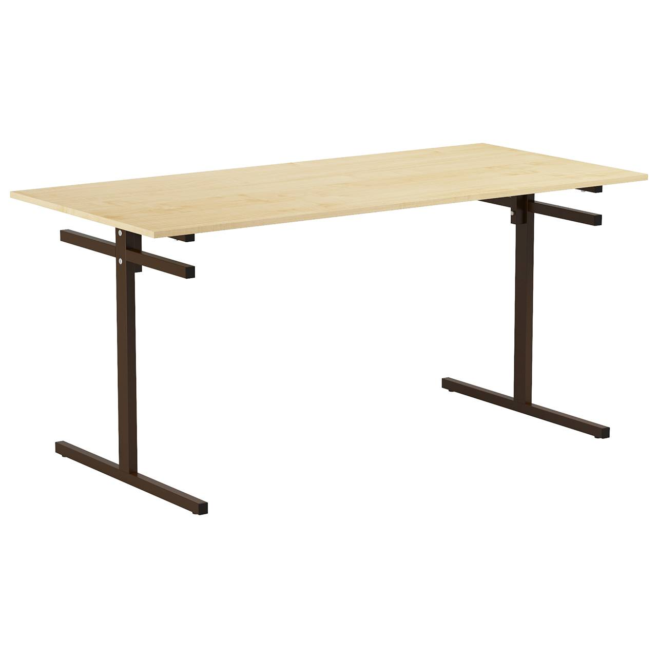 Стол для столовой 6-местный для скамеек (гр. 5,6) коричневый Клен 6 Пластик