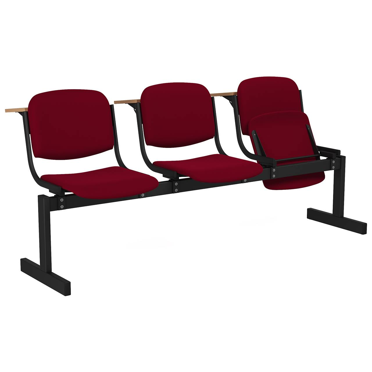 3-местный, откидывающиеся сиденья, мягкий, лекционный черный бордо Флок