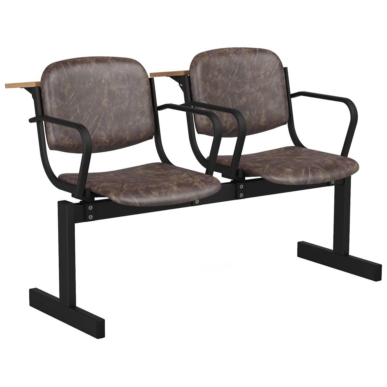 2-местный, не откидывающиеся сиденья, мягкий, подлокотники, лекционный черный коричневый Кожзаменитель