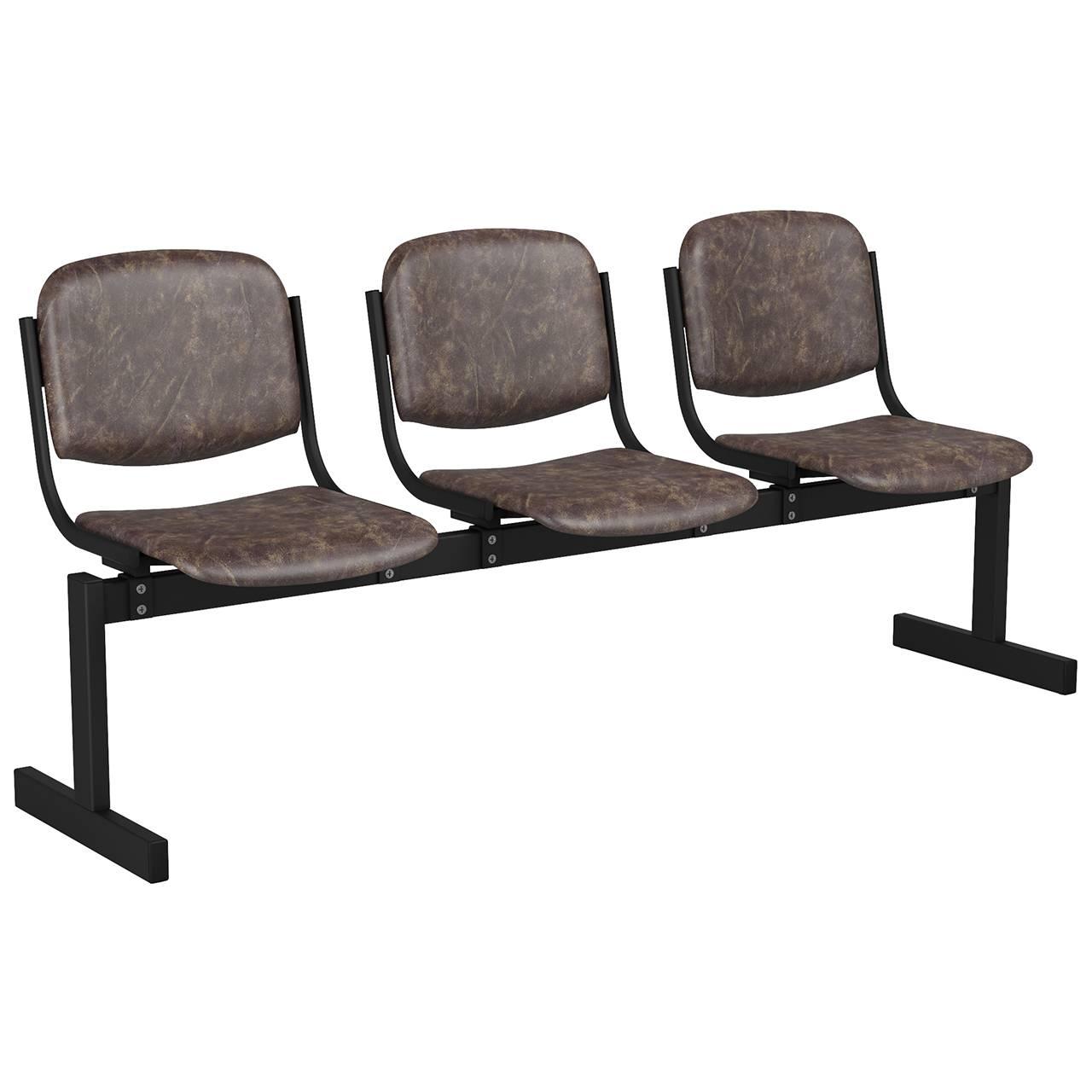 3-местный, не откидывающиеся сиденья, мягкий черный коричневый Кожзаменитель