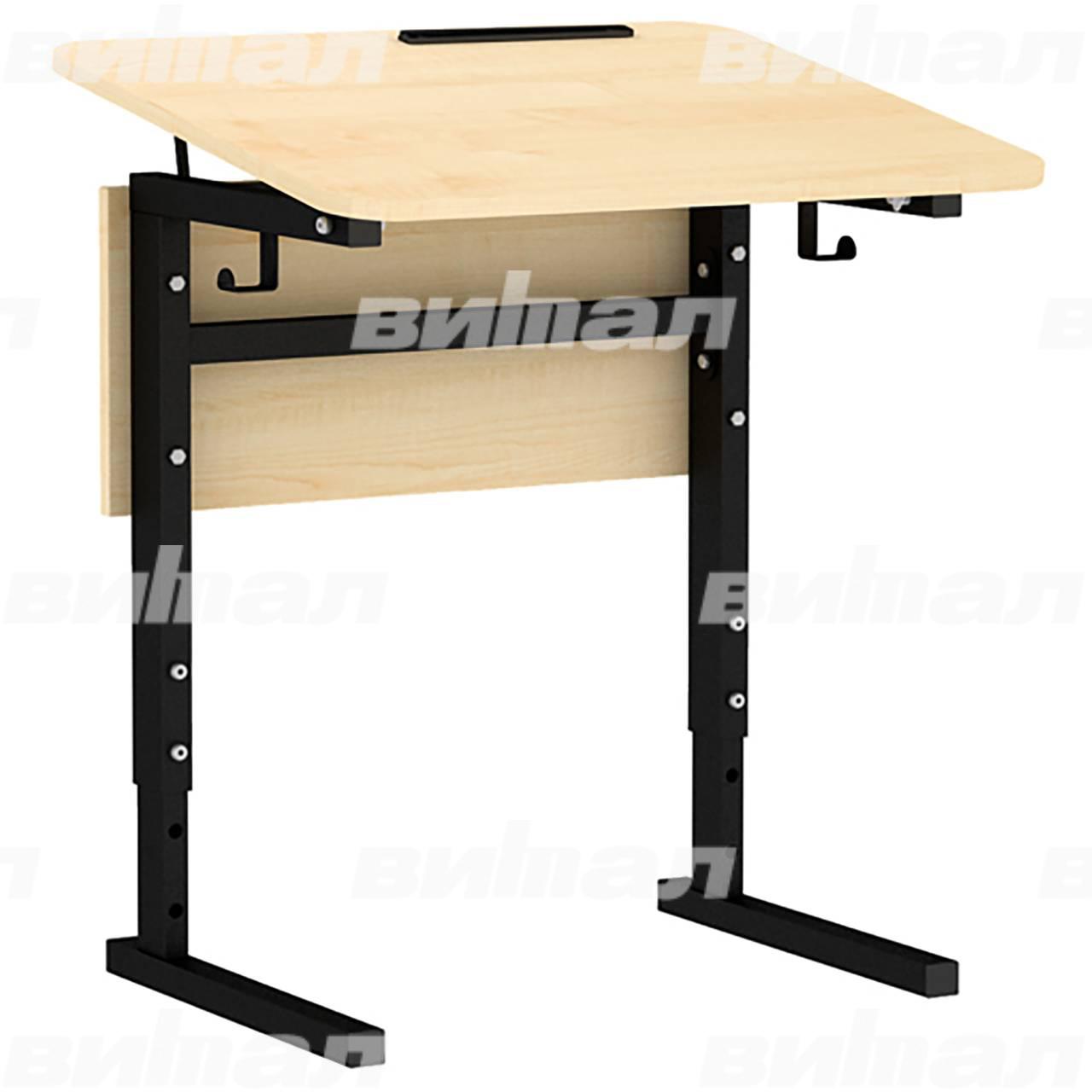 Стол 1-местный регулир. высота и наклон столешницы 0-10° (гр 2-4, 3-5 или 4-6) черный Клен 3-5 Меламин