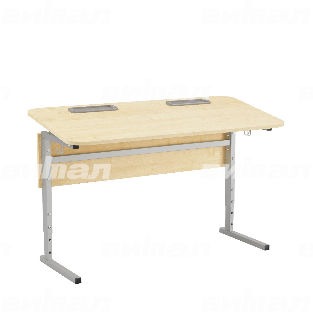 Стол 2-местный регулир. высота и наклон столешницы 0-10° (гр 2-4, 3-5 или 4-6) серый Клен 3-5 Меламин прямоугольная