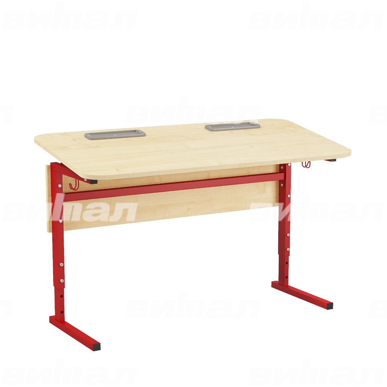 Стол 2-местный регулир. высота и наклон столешницы 0-10° (гр 2-4, 3-5 или 4-6) красный Клен 3-5 Меламин прямоугольная