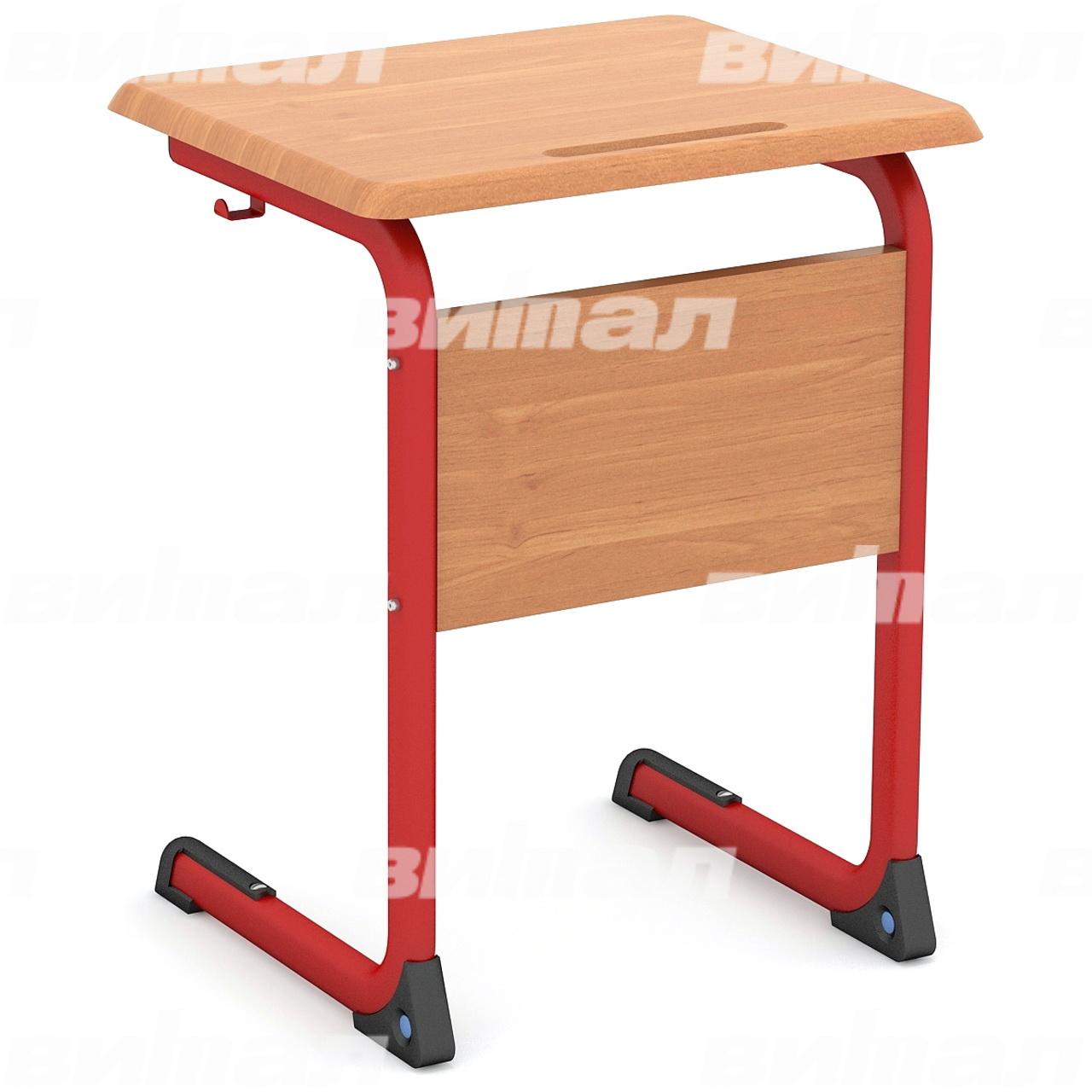 Стол ученический 1-местный нерегулируемый (гр. 3, 4, 5 или 6) МДФ красный Бук 4 МДФ плоскоовальная