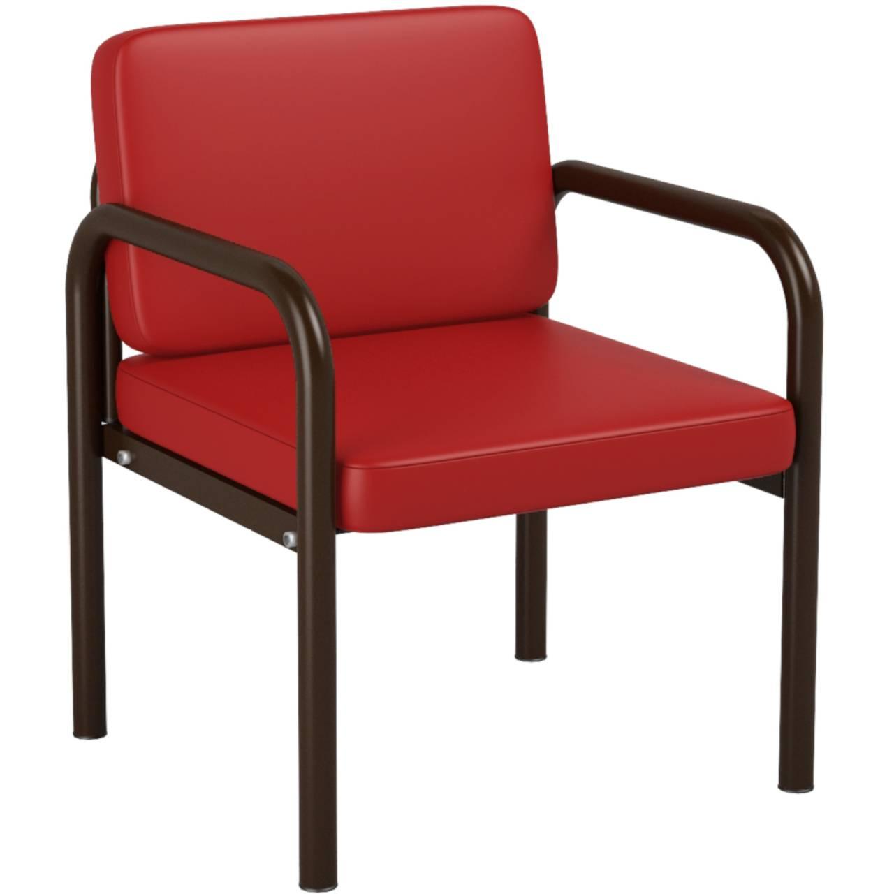 Кресло (круглая труба) коричневый красный Кожзаменитель
