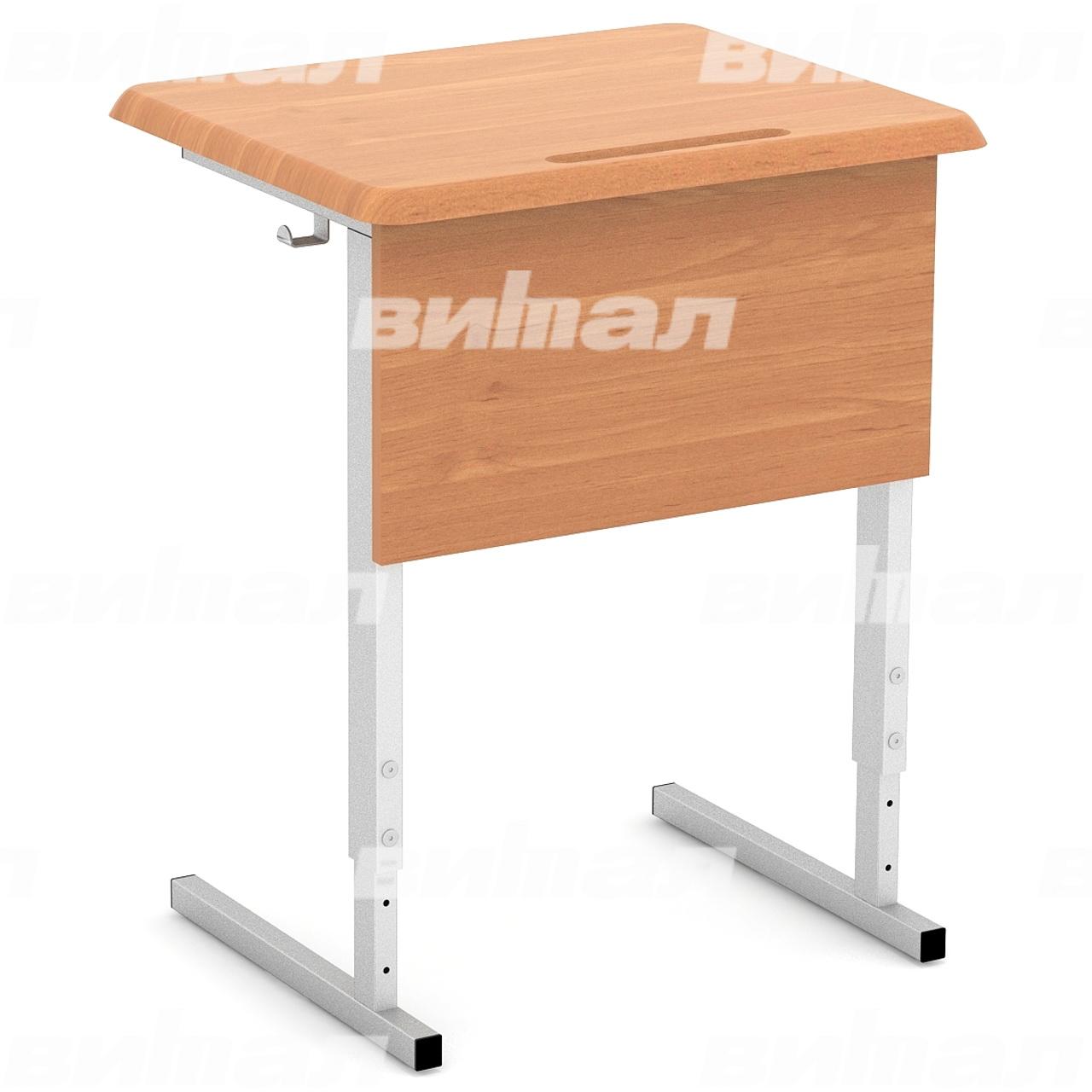 Стол ученический 1-местный регулируемый (гр. 2-4, 4-6, 3-5) МДФ серый Бук 4-6 МДФ прямоугольная