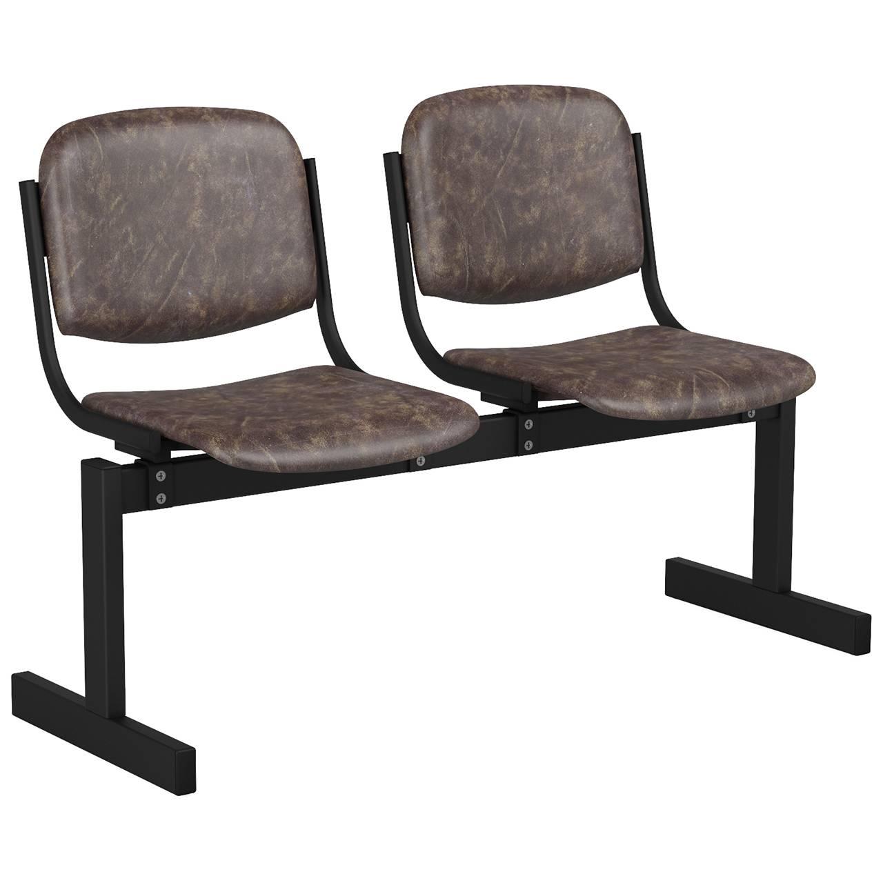 2-местный, не откидывающиеся сиденья, мягкий черный коричневый Кожзаменитель