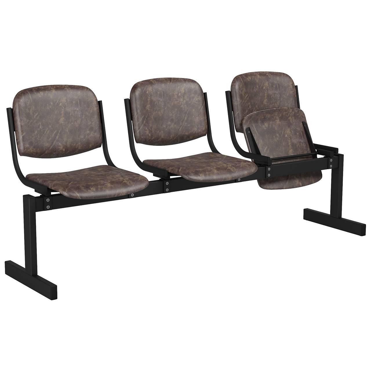 3-местный, откидывающиеся сиденья, мягкий черный коричневый Кожзаменитель