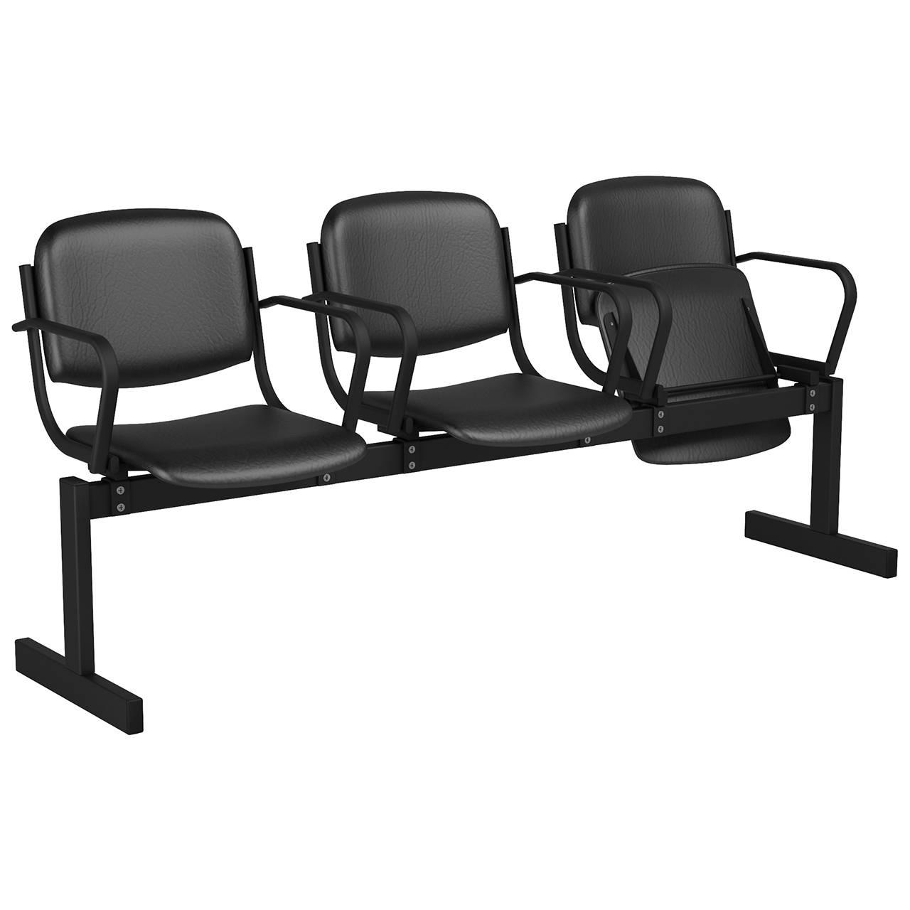 3-местный, откидывающиеся сиденья, мягкий, подлокотники черный черный Кожзаменитель