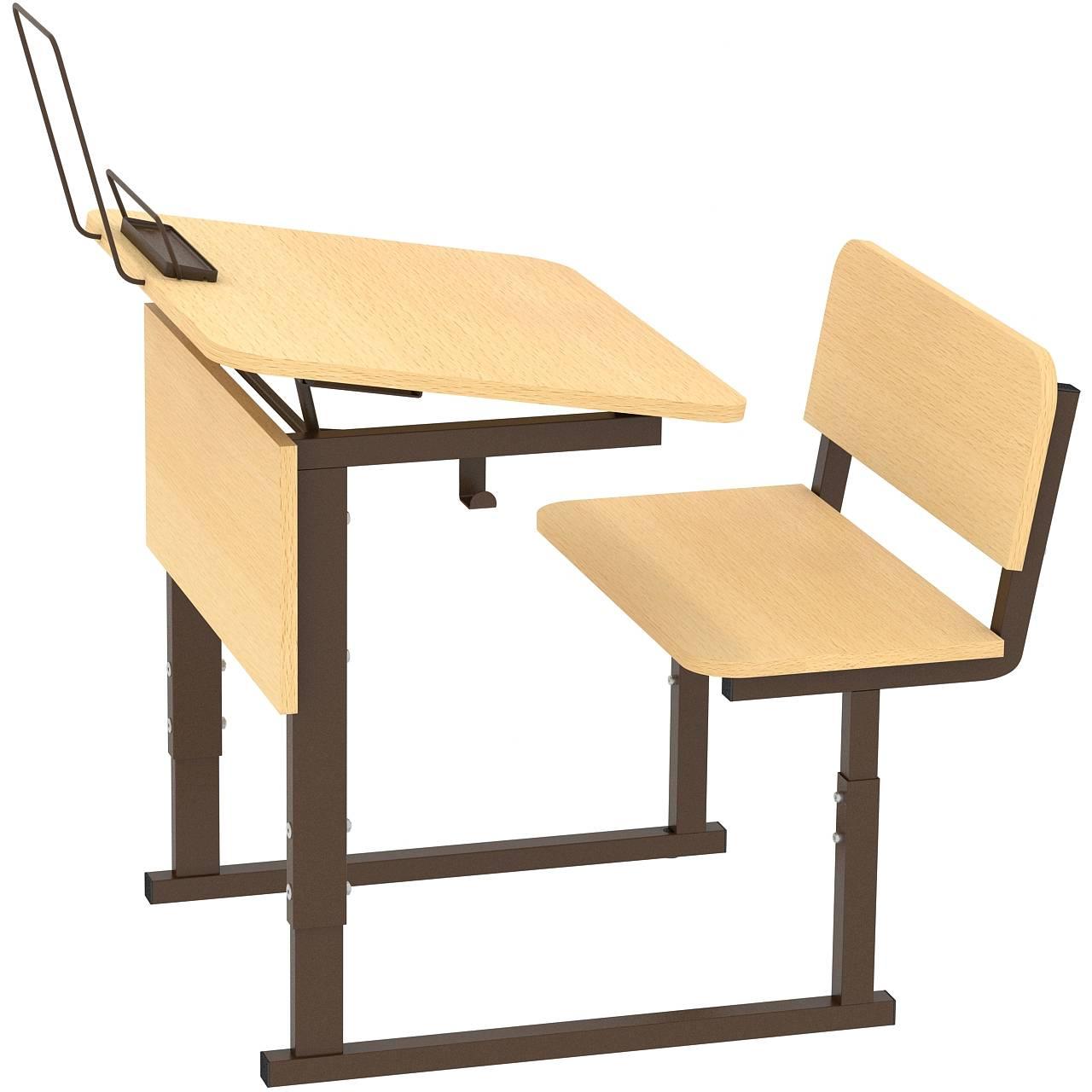 Парта ученическая 1-местная регулируемая по высоте и наклону столешницы 0-10° 2-4, 3-5 или 4-6 гр. коричневый Клен 3-5 Меламин