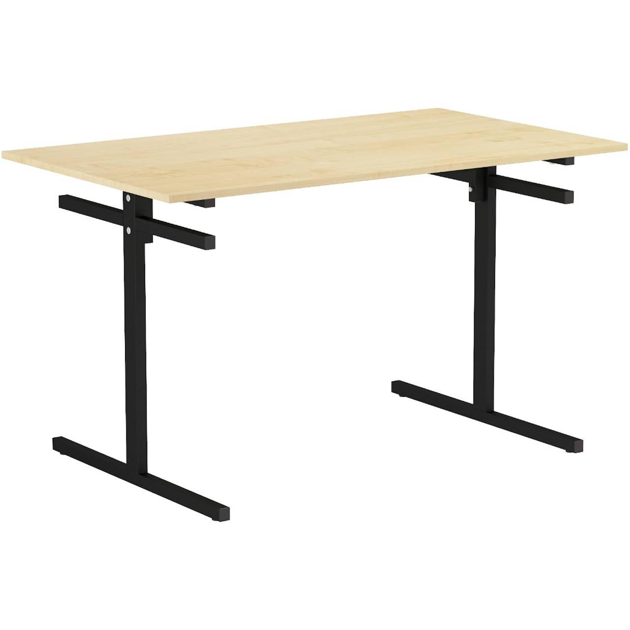 Стол для столовой 4-местный для скамеек (гр. 5,6) черный Клен 6 Пластик