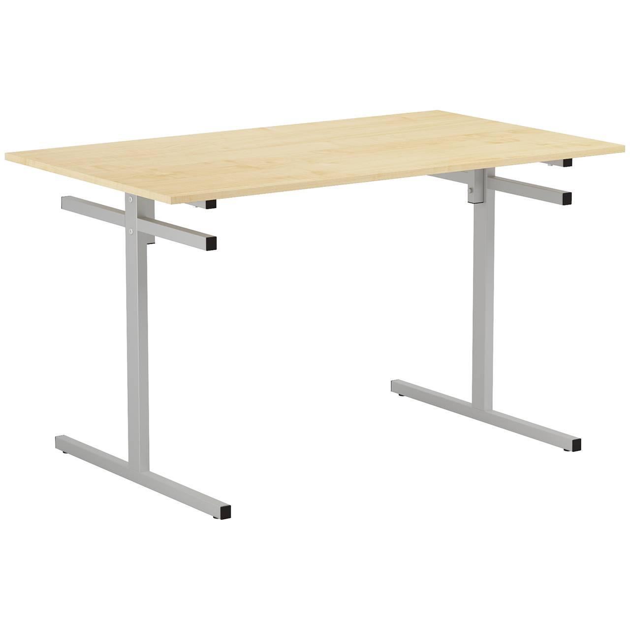 Стол для столовой 4-местный для скамеек (гр. 5,6) серый Клен 6 Пластик