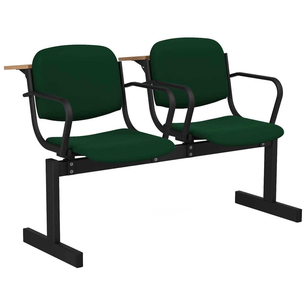 2-местный, не откидывающиеся сиденья, мягкий, подлокотники, лекционный черный зеленый Флок