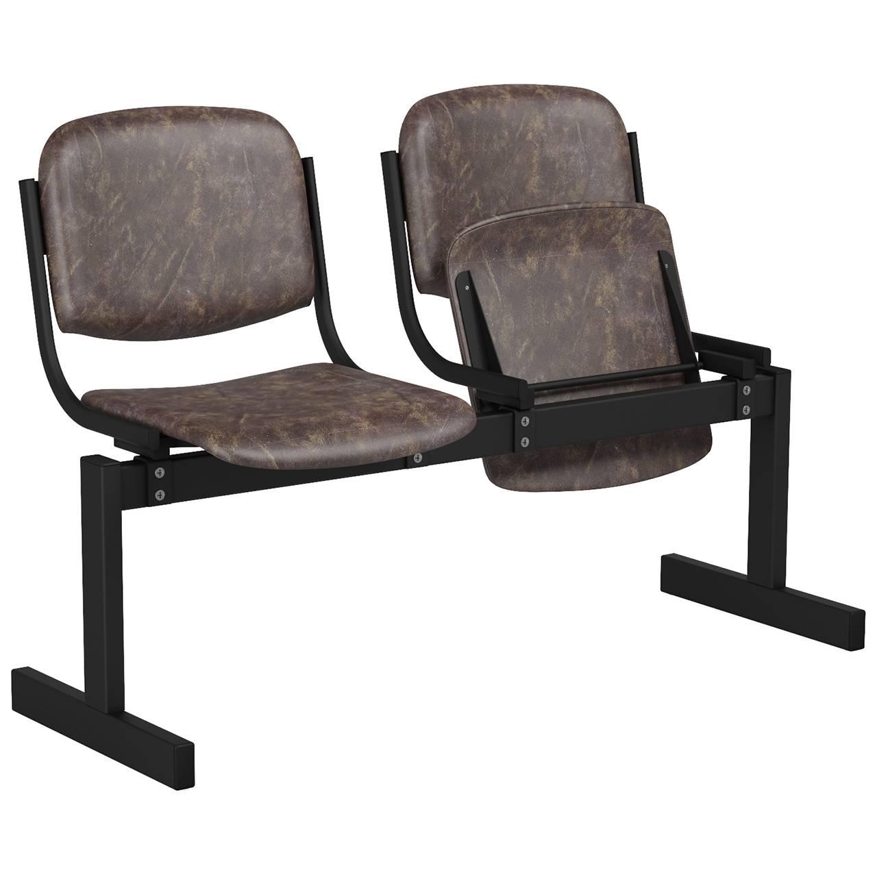 2-местный, откидывающиеся сиденья, мягкий черный коричневый Кожзаменитель