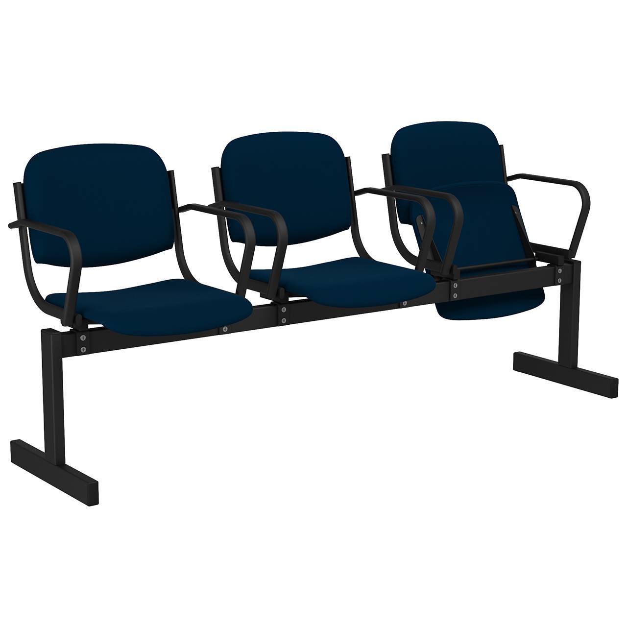 3-местный, откидывающиеся сиденья, мягкий, подлокотники черный синий Флок