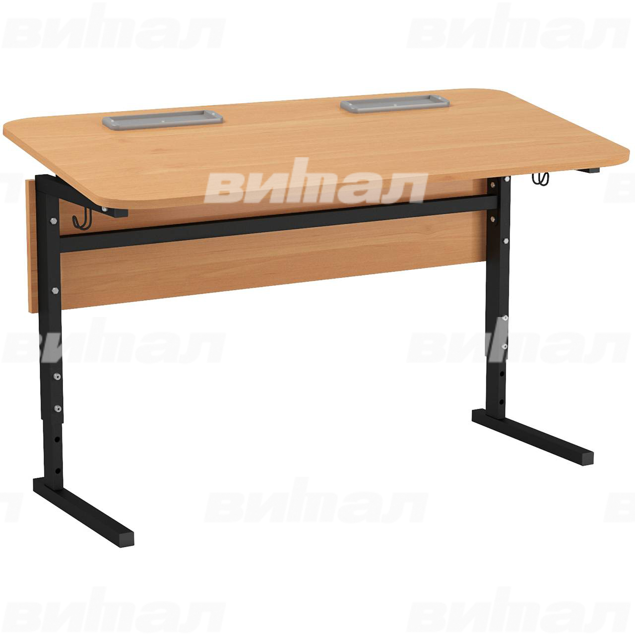 Стол 2-местный регулир. высота и наклон столешницы 0-10° (гр 2-4, 3-5, 4-6 или 5-7) черный Ольха 5-7 Меламин прямоугольная