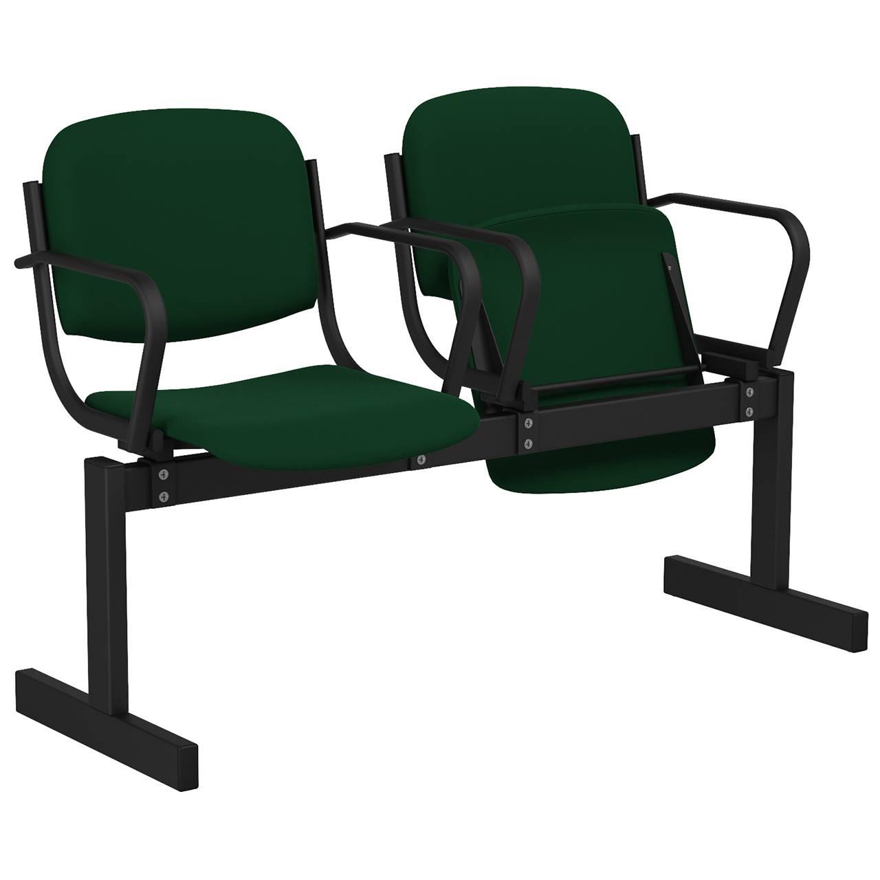 2-местный, откидывающиеся сиденья, мягкий, подлокотники черный зеленый Флок